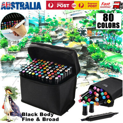80 Colors Set Alcohol Graphic Art Twin Tip Marker Pen Fine Broad In Storage Bag