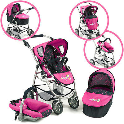 Bayer Chic 2000 Puppenwagen Emotion All In Kombi 3 in 1 pink dots Autositz Buggy