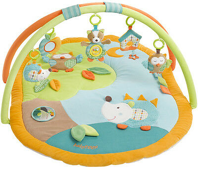 Baby Fehn Sleeping Forest 3-D Activity Spieldecke Igel und Eule (Orange-Grün)
