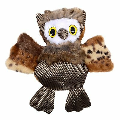 26cm Plush Owl Pet Dog Puppy Tough Chew Squeaky Squeaker Toy Crinkly Sound Wings