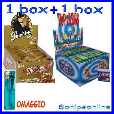 1 box CARTINE Smoking LUNGHE Oro Gold + 1 box FILTRI POP FILTERS