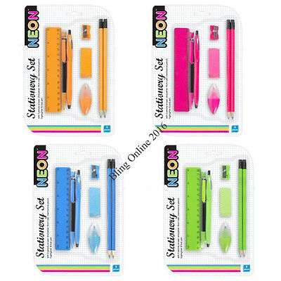 1x NEON STATIONARY SET PEN PENCIL RULER RUBBER SHARPENER HIGHLIGHTER HOME SCHOOL