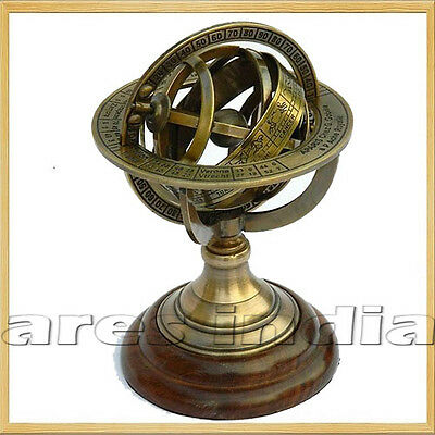 "5"" Nautical Brass Armillary Sphere World Globe Rosewood Base Table Decor Gift.."
