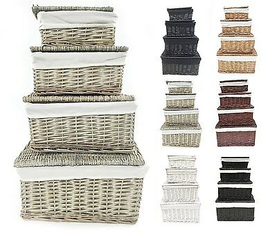 Black White Grey Lidded Wicker Storage Toy box Empty Xmas Hamper Basket Lining
