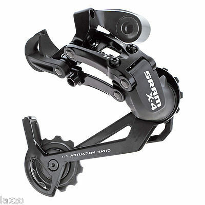 SRAM X4 MTB Mountain Bike Rear Mech Derailleur Black 7 / 8 Speed Long Cage 280g