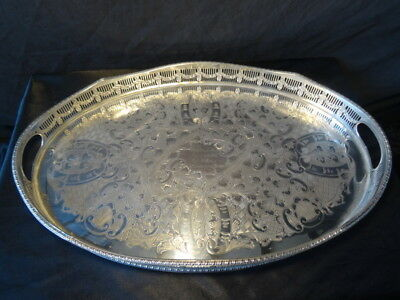 1 Georgian Style Sheffield Silver Plate Oval Butlers Server Tray Centrepiece
