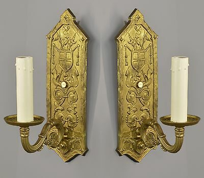Brass Tudor Revival Wall Sconces c1930 TWO PAIR AVAILABLE Vintage Antique Gold