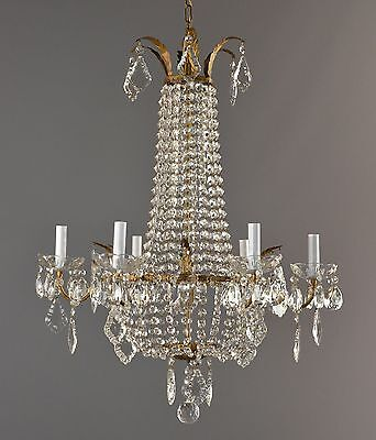 Marie Antoinette Brass & Crystal Chandelier c1930 Antique French Vintage Ornate