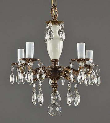 Spanish Brass & Crystal Chandelier c1950 Vintage Antique Gold Brass French Style