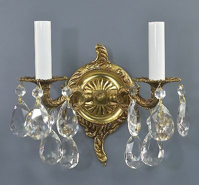 PAIR Two Armed Spanish Brass & Crystal Wall Sconces c1950 Vintage Antique Brass