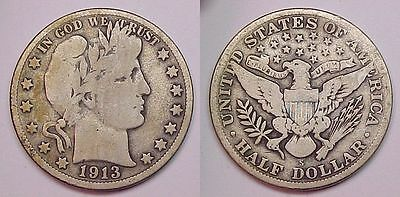 1913 S Barber Half Dollar Very Good VG