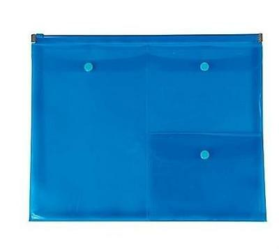 Poly Zip Envelopes with 4 Pockets, Letter Size, Blue (1 Each)