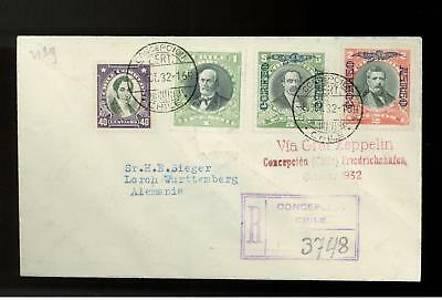 1932 Concepcion Chile LZ 127 Graf Zeppelin Cover Flown to Germany