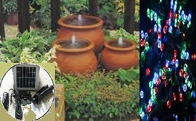 Solar Fountain Pond 2Watts 175Lph + Red Green Blue 200 Led Fairy String Lights