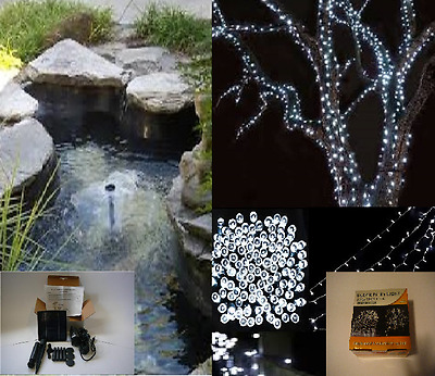 Solar - Pond Fountain 1.5W 150Lph + White Fairy Lights 200 Led - Aust Owned Shop