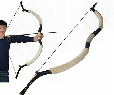 Hot 45lbs 58'' Handmade Sheepskin Recurve Bow Hunting Archery Mongolian Longbow