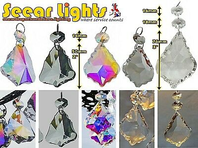 CHANDELIER DROPLETS LEAF PRISMS BEADS DROPS ANTIQUE AB or CLEAR GLASS CRYSTALS