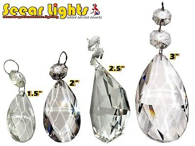 4 Styles Chandelier Prism Droplets Cut Glass Oval Drops Crystals Antique Quality