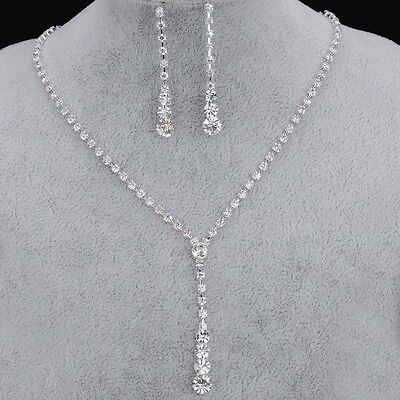 Crystal tennis drop necklace earrings silver bridal necklace Jewellery set
