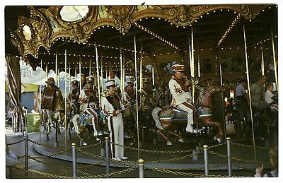 1960s DISNEYLAND FANTASYLAND~BRASS BAND KNIGHTS on CAROUSEL~NRMT UNUSED POSTCARD