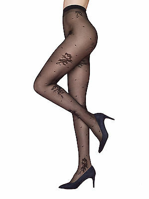"SALE !! Patterned Tights 40 Den by Fiore "" Winnie Rose ""Flower Pattern Tights"