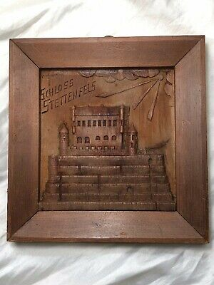 Vintage German Carved Wood Plaque Of Schloss Stettenfels Castle Wall Hanging