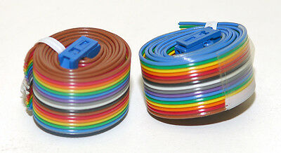 """50 Pieces, 16 Conductor Ribbon cables with 1 Connector 10 to 15"""" Long, Used"""