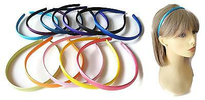 1cm wide satin fabric covered headband - aliceband - 23 colour options