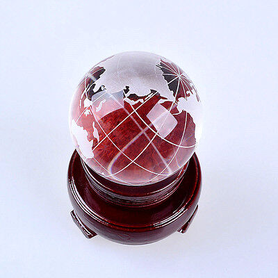 LONGWIN 50mm Frosted Crystal World Globe Glass Table Decorations Gift Home Decor