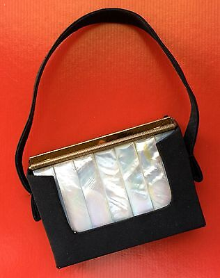 Vintage Volupte Mother Of Pearl Compact Purse Lipstick Comb Never Used Art Deco