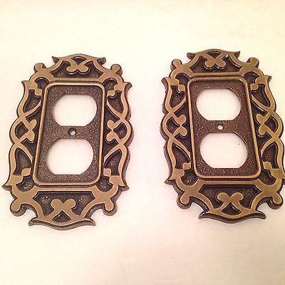 Set 2 Vintage National Lock Brass Outlet Cover Victorian Architectural      4L