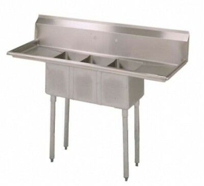 Commercial (3) Three Compartment Stainless Steel Sink 60.5 in.W x 19.8 in.  New