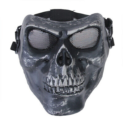 Airsoft Paintball Combat Protection Skull Full Face Mask & Steel Mesh Black