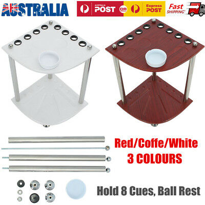 MDF Wooden Corner Cue Rack Pool Snooker Table Balls Drink Rest Stick Holder