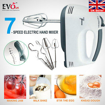 7-Speed Electric Hand Mixer With Beaters Whisk Mixing Blender Kitchen Tool Eggs