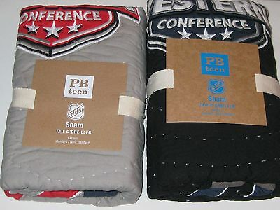 2 Pottery Barn NHL Hockey Quilted STD Pillow Shams Eastern + Western Conference
