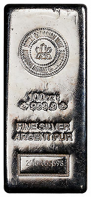 Random Date Royal Canadian Mint 100 Troy Oz .9999 Fine Silver Bar SKU39737