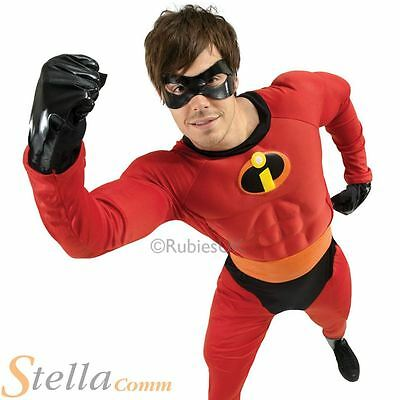 Mens Deluxe Mr Incredible Fancy Dress Costume Superhero Halloween Adult Outfit
