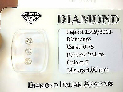 DIAMANTE 0.75 trilogy  CARATI E  COLOR VS 1 CE  OFFERTA 50 % lotto 0.50 1.00