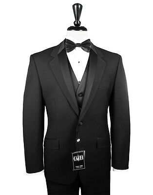 43 R PROM Mens Black Two Button Tuxedo Package Used Formal Tux Wedding Sale Set