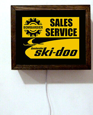 Ski-Doo Service  Snowmobiling Snowmobile Dealer Advertising Light Lighted Sign
