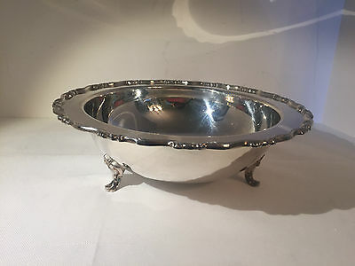 """WM A Rogers Silverplate Footed Bowl with Scalloped Edge 10.5"""" with label"""