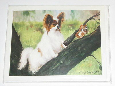 Papillon Dog Notecards Envelopes Set of 6 New Butterfly Tree Blank Inside Puppy