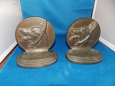 Pair Of Heavy Brass Bronze B&H Bradley &  Hubbard German Shepherd Bookends