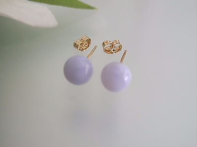 Top quality blue Lace Agate 6mm round ball stud solid 14k gold earrings