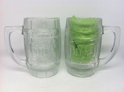 2 Dad's Old Fashioned Root Beer Vintage Heavy Indiana Glass Barrel Mug Set Pair
