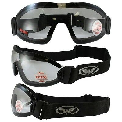 2 Sky Dive Goggles Clear Smoke Skydiving New These Have Shatterproof Polycarb...