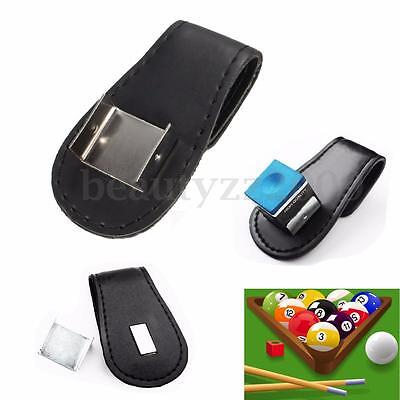 Black Magntic Pool Cue Chalk Holder with Belt Clip Billiard Snooker Table New