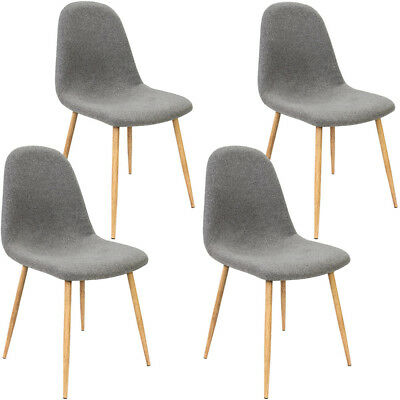 4x Design Chairs Retro Seat Fabric Dining Table Chair Set Backrest Dark Grey