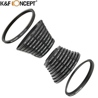 18pcs Step Up Down Lens Filter Ring Adapter Set 37 - 82mm For Canon Nikon Metal
